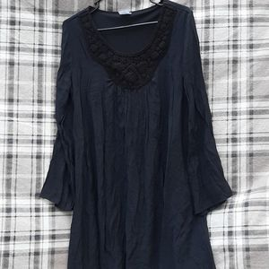 Crepey Wrangler Wrancher Embroidered Dress